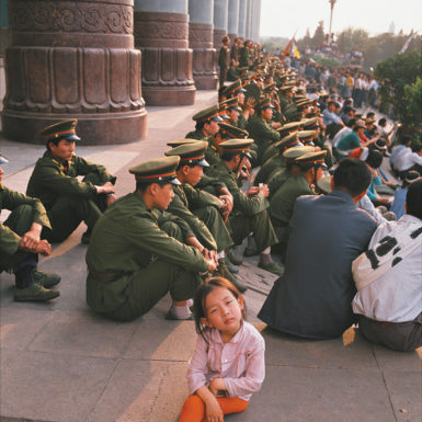 Chinese troops observing the Tiananmen Square demonstration in May 1989 before the army was ordered to attack