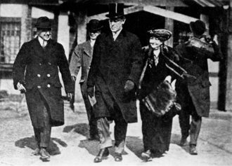 President-Elect Woodrow Wilson and his wife Ellen Axson in Princeton, New Jersey, on their way to Washington, D.C., March 3, 1913