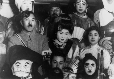 Prince Konoe Fumimaro dressed as Adolf Hitler at a costume party in the spring of 1937, shortly before he was named Japan's prime minister