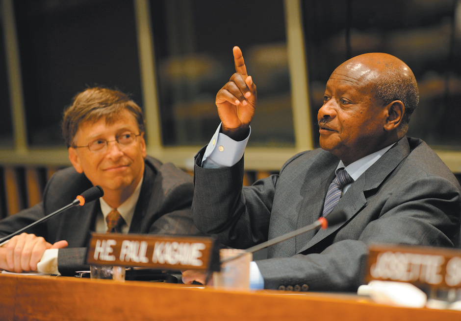Bill Gates, chairman of the Bill and Melinda Gates Foundation, with Ugandan President Yoweri Museveni at the United Nations during the announcement of a joint initiative with the World Food Programme to help small farmers in developing countries gain access to reliable markets, September 2008