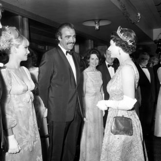 Sean Connery, his wife, Diane Cilento (left), and Queen Elizabeth II at the premiere of You Only Live Twice, London, 1967