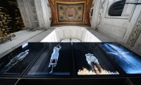 A view of Bill Viola's video installation Martyrs (Earth, Air, Fire, Water) on display at St. Paul's Cathedral, London