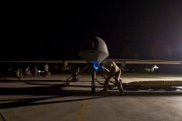 Inspecting a US military MQ-1B Predator unmanned drone aircraft, September 3, 2008