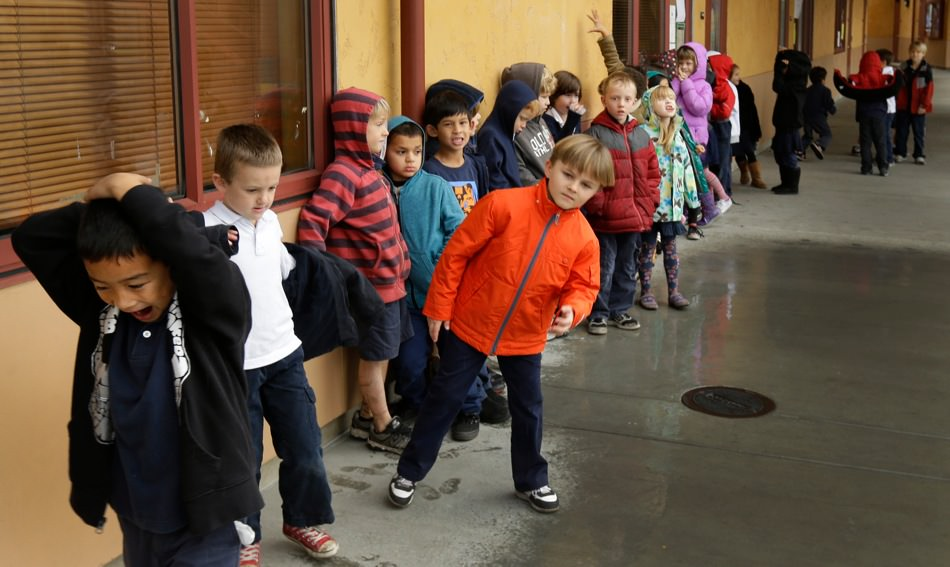 A first-grade class of thirty children at the Willow Glen Elementary School in San Jose, California, where budget cuts have led to larger class sizes, January 24, 2013