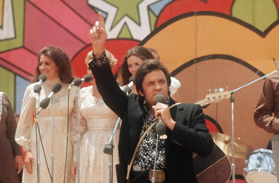 Johnny Cash performing at