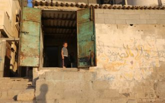 A Palestinian child at the al-Shati refugee camp in Gaza City, June 18, 2014