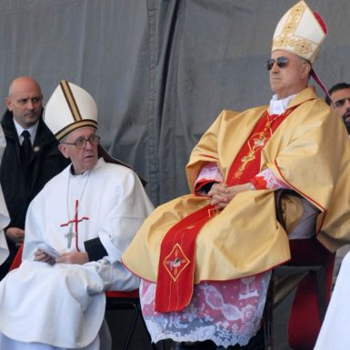Cardinal Jorge Mario Bergoglio (left), the Archbishop of Buenos Aires and future Pope Francis, with Vatican Secretary of State Tarcisio Bertone at a beatification ceremony in Chimpay, Argentina, November 11, 2007