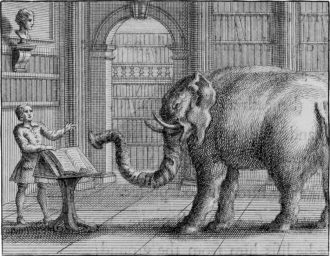 'The Elephant and the Bookseller'; eighteenth-century engraving from the exhibition 'William Kent: Designing Georgian Britain,' organized by the Bard Graduate Center and on view at the Victoria and Albert Museum, London, until July 13, 2014. The catalog is edited by Susan Weber and published by Yale University Press.
