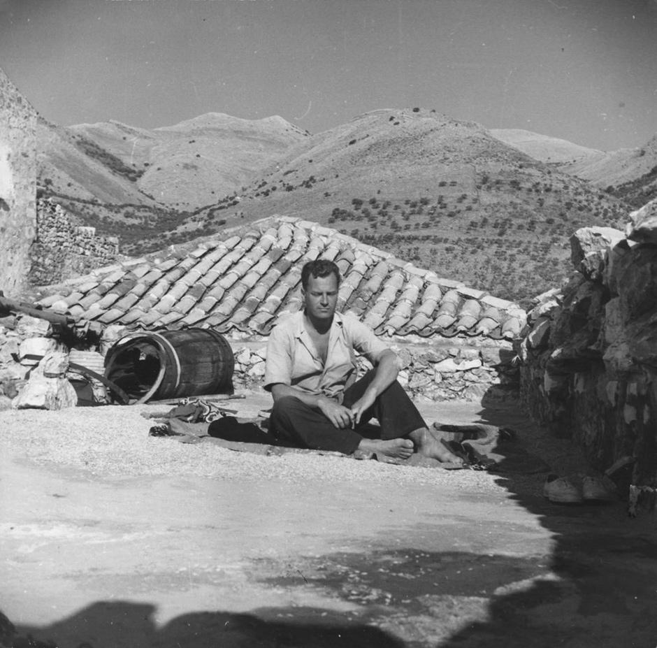 Patrick Leigh Fermor in Phlomochori, a village on the Mani peninsula, southern Peloponnese, Greece