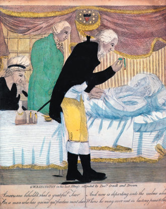 'George Washington in His Last Illness, Attended by Doctors Craik and Brown'; colored engraving, 1799