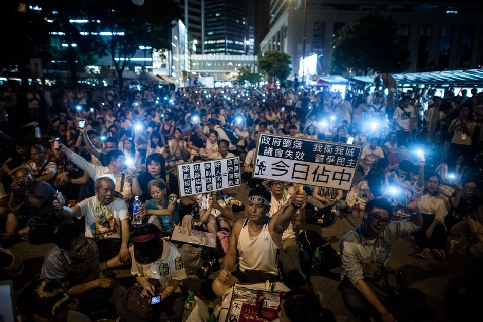 A sit-in for democratic rights in Hong Kong's central district, July 1, 2014