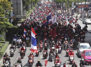 Supporters of Thailand's Red Shirt movement in a protest against the Constitutional Court, Bangkok, May 8, 2013