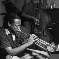 Trumpeter Clifford Brown and Bassist Percy Heath during a rehearsal