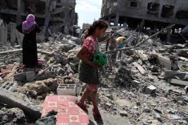 Destroyed houses in the Shejaia neighborhood of Gaza City, July 26, 2014