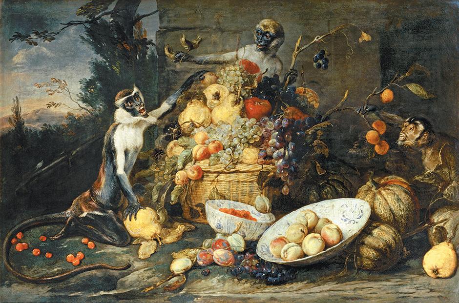 Frans Snyders: Three Monkeys Stealing Fruit, circa 1640