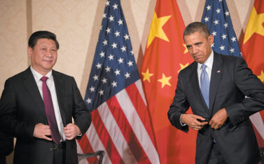 President Obama and Chinese President Xi Jinping at a bilateral meeting in Amsterdam, March 2014