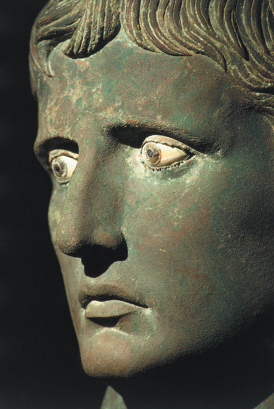 Bronze head of Augustus with glass and alabaster eyes; from Meroë, Sudan, 27–25 BC