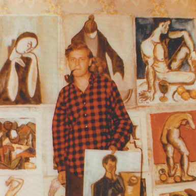 Charles Simic, age seventeen, with some of his paintings, Oak Park, Illinois, 1955