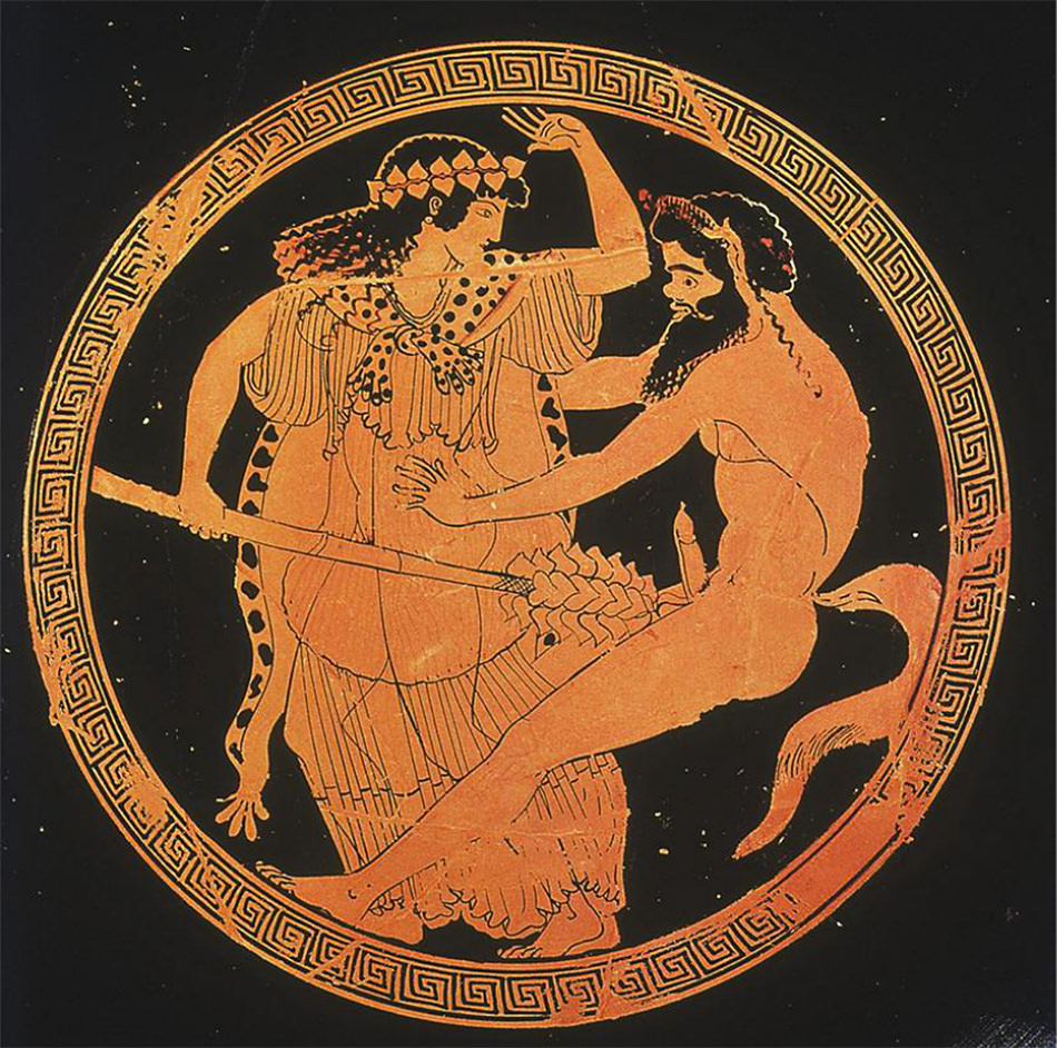 Ancient Greek kylix showing a Maenad and Satyr, fifth century BC