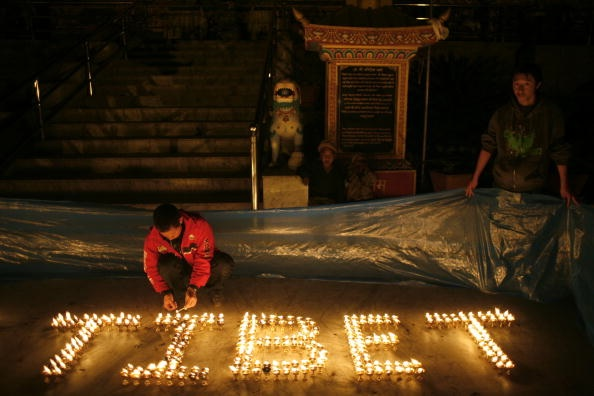 A candlelight protest in support of Tibet, Kathmandu, Nepal, March 2008