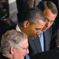 President Obama with Republican congressional leaders Mitch McConnell and John Boehner at the Capitol, Washington, D.C., February 2013