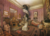Fernand Pelez: Interior of a Bedroom, watercolor, late nineteenth century