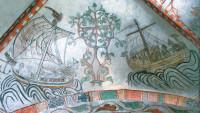 'Saint Olaf's sailing race'; fourteenth-century wall painting in the parish church at Skamstrup, Denmark