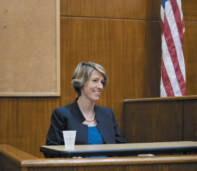 Zephyr Teachout, the author of Corruption in America, who is running against New York Governor Andrew Cuomo in the Democratic primary, testifying in court during his unsuccessful attempt to have her removed from the ballot, Brooklyn, August 7, 2014