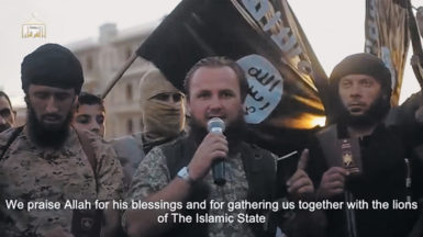 An image from Clanking of the Swords IV, a recent film by the Sunni jihadist guerrilla group that now calls itself the State of the Islamic Caliphate, on the border of Iraq and Syria