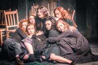 Samantha Colley (top center) as Abigail Williams in Yaël Farber's production of <i>The Crucible</i>