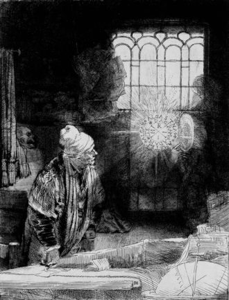 'Faust'; etching by Rembrandt, circa 1652