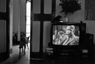 A television showing John Coltrane, Equatorial Guinea, 1990