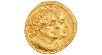 Octadrachm, reverse: jugate portrait of Ptolemy I and Berenice I, Alexandria, 260–240 BCE