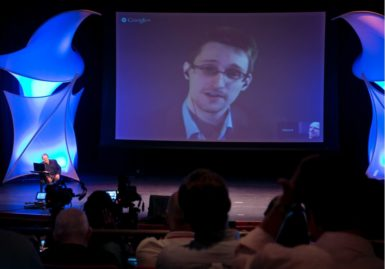 Edward Snowden in a video conference with John Perry Barlow, co-founder of the Electronic Frontier Foundation, New York, June 5, 2014