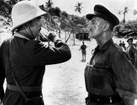 Sessue Hayakawa as a Japanese colonel and Alec Guinness as a British POW forced to work on the Burma railroad in Bridge on the River Kwai, 1957