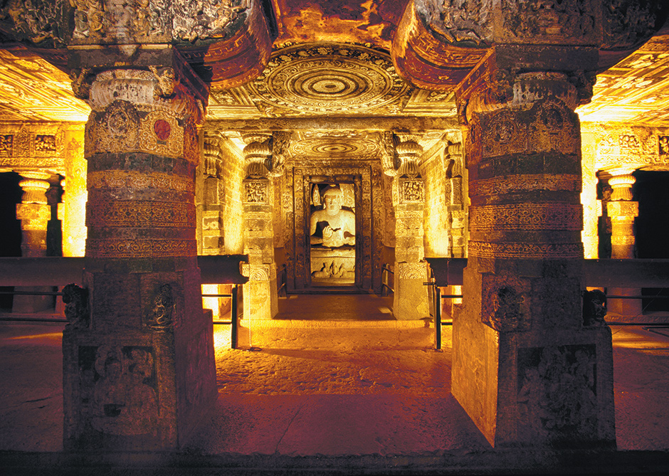 A statue of the Buddha in one of the Ajanta caves, India