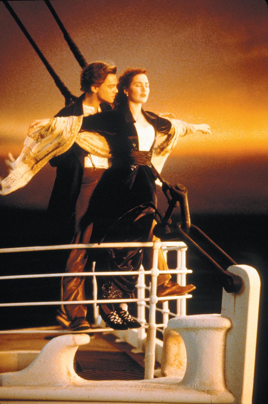 Leonardo Di Caprio and Kate Winslet in Titanic, 1997