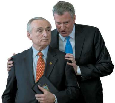 Police Commissioner Bill Bratton and Mayor Bill de Blasio at a news conference about the police department's use of stop-and-frisk practices, Brownsville, Brooklyn, January 2014