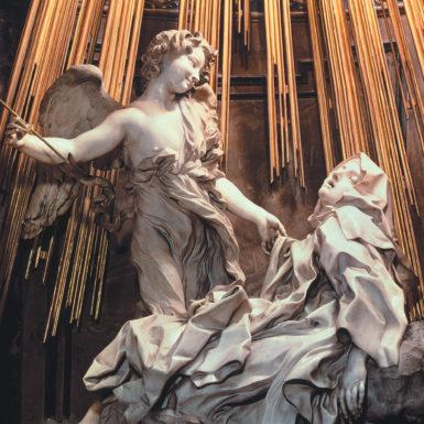 'The Ecstasy of Saint Teresa of Avila'; sculpture by Gian Lorenzo Bernini in the Cornaro Chapel of Santa Maria della Vittoria, Rome, mid-seventeenth century