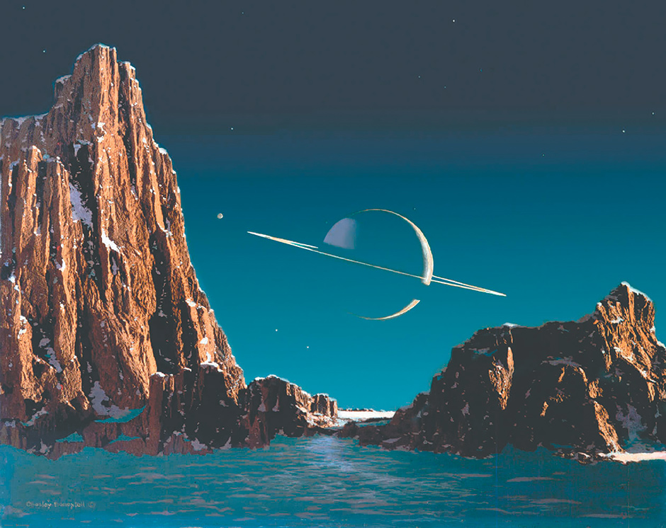 """Chesley Bonestell: Saturn as Seen from Titan [Its Moon], 1944; from Michael Benson's Cosmigraphics: Picturing Space Through Time, to be published by Abrams in November. 'Along with French illustrator and astronomer Lucien Rudaux,' Benson writes, Bonestell 'pioneered a genre of speculative solar system landscapes sometimes called """"space art""""...We now know that Titan's atmosphere is so thick, a view like this would be impossible, which takes nothing away from the power of Bonestell's achievement.'"""