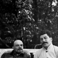 Lenin and Stalin at Gorki, just outside Moscow, September 1922; photograph by Maria Ulyanova, Lenin's sister. Stephen Kotkin writes that 'Stalin had images of his visit published to show Lenin's supposed recovery—and his own proximity to the Bolshevik leader. This pose was not among those published.'