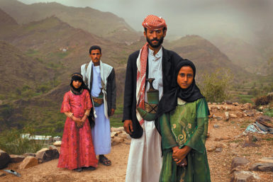 Two eight-year-old brides with their husbands, Hajjah, Yemen, July 2010
