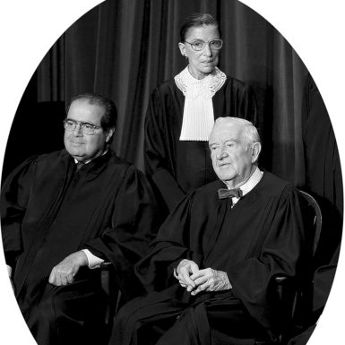 Supreme Court Justices Antonin Scalia, Ruth Bader Ginsburg, and John Paul Stevens, 2005