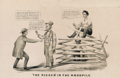 A print by Currier & Ives, 1860, in which Horace Greeley (center) and Abraham Lincoln try to conceal the 'radical' Republican Party platform from a man identified as 'Young America'