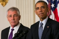 President Barack Obama announcing the resignation of Secretary of Defense Chuck Hagel, November 24, 2014