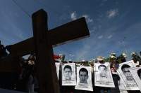 Relatives of the forty-three kidnapped students attending an outdoor mass in Iguala, Guerrero, Mexico, October 27, 2014