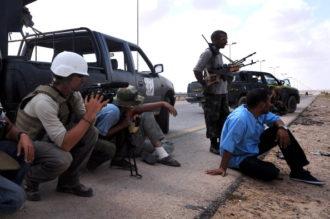 American freelance reporter James Foley (left) in Sirte, Libya, September 29, 2011