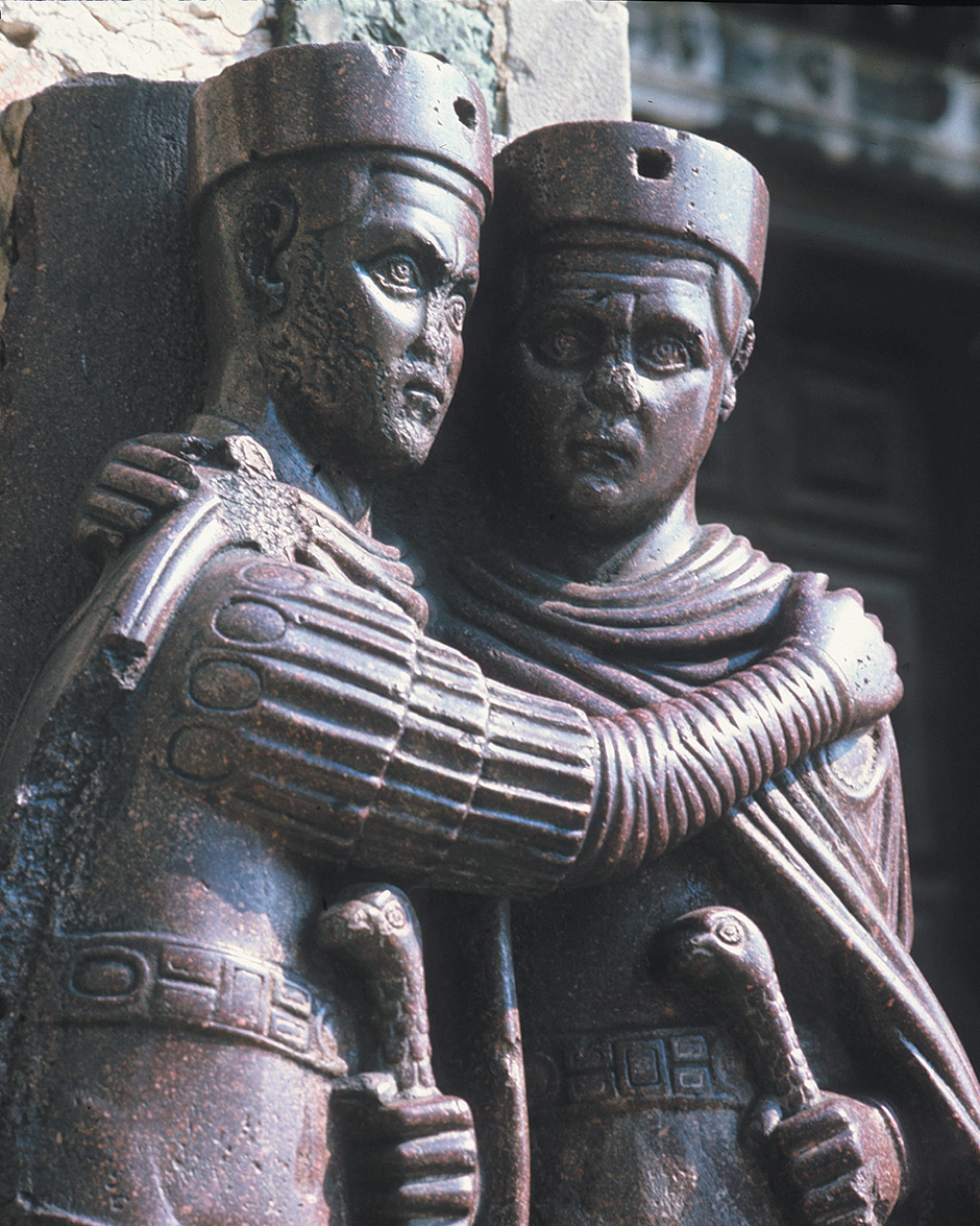 'Portrait of the Four Tetrarchs'; detail of a porphyry statue from about 300 AD of Diocletian and three other emperors who ruled the Roman Empire, now at St. Mark's Basilica in Venice