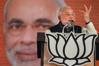 Narendra Modi, then chief minister of Gujarat, at a meeting of the national council of the right-wing Bharatiya Janata Party (BJP), Delhi, January 2014. He was elected prime minister of India in May 2014.