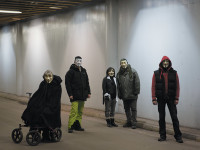 People wearing Guy Fawkes masks to identify themselves as members of Anonymous, Stockholm, 2013